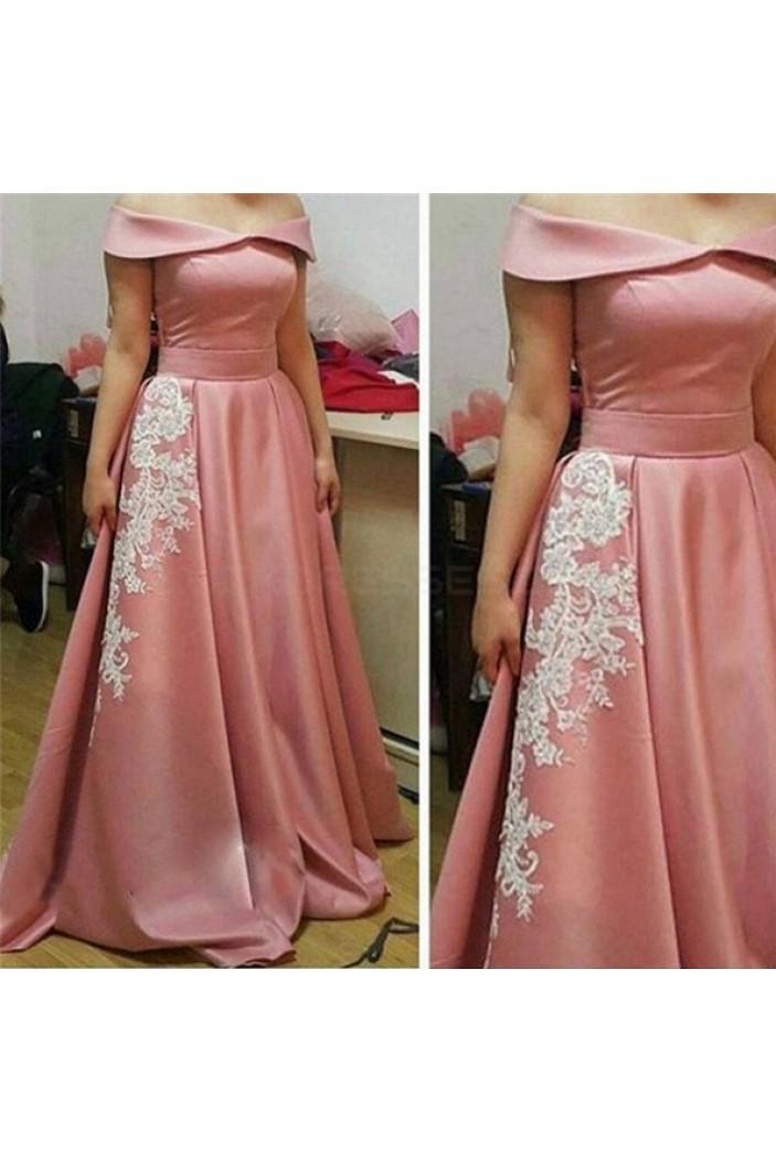 A-Line Off-the-Shoulder Lace Appliques Long Prom Formal Evening Party Dresses 3020951