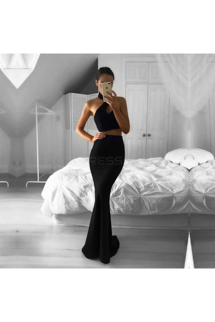 Long Black Two Pieces Mermaid Prom Formal Evening Party Dresses 3020954