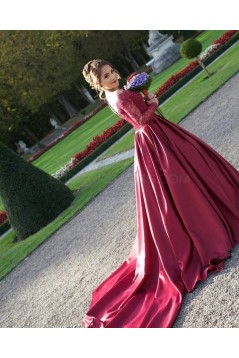 Ball Gown Long Red Long Sleeves Lace Off-the-Shoulder Prom Formal Evening Party Dresses 3020956