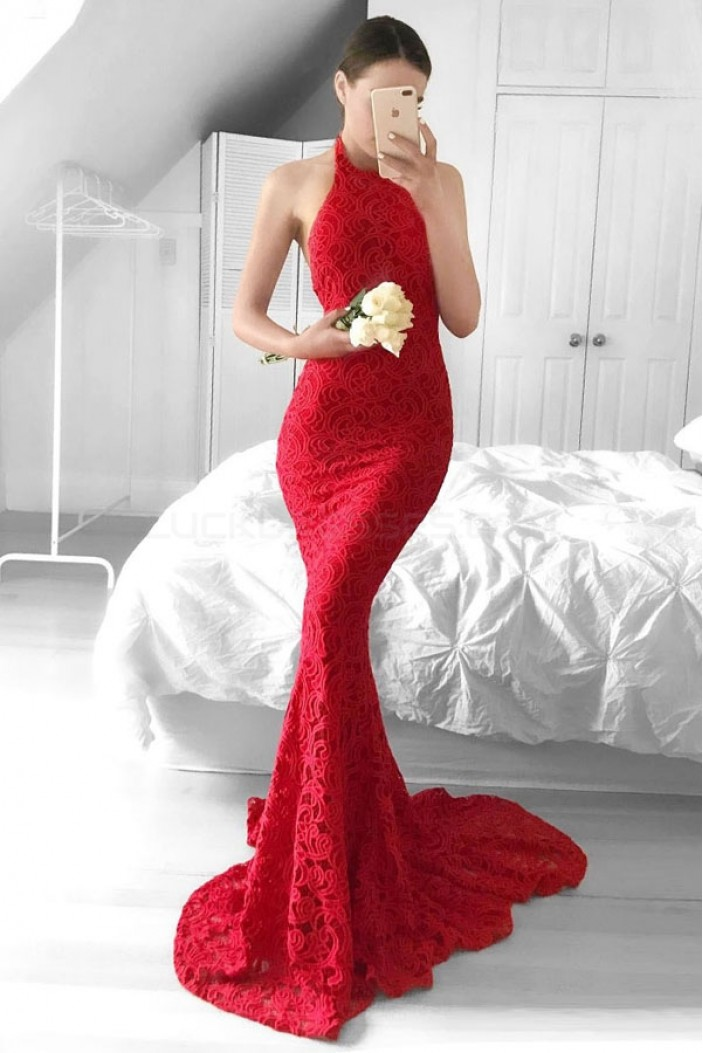 Mermaid Halter Long Red Backless Lace Prom Formal Evening Party Dresses 3020959