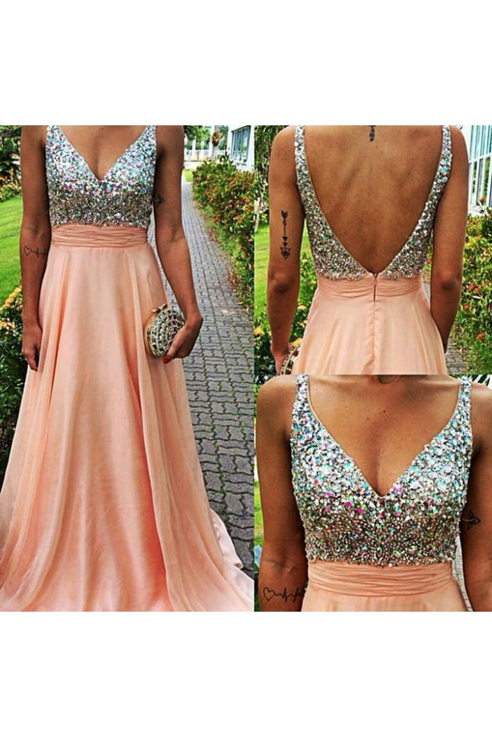 A-Line Beaded V-Neck Chiffon Prom Formal Evening Party Dresses 3020966