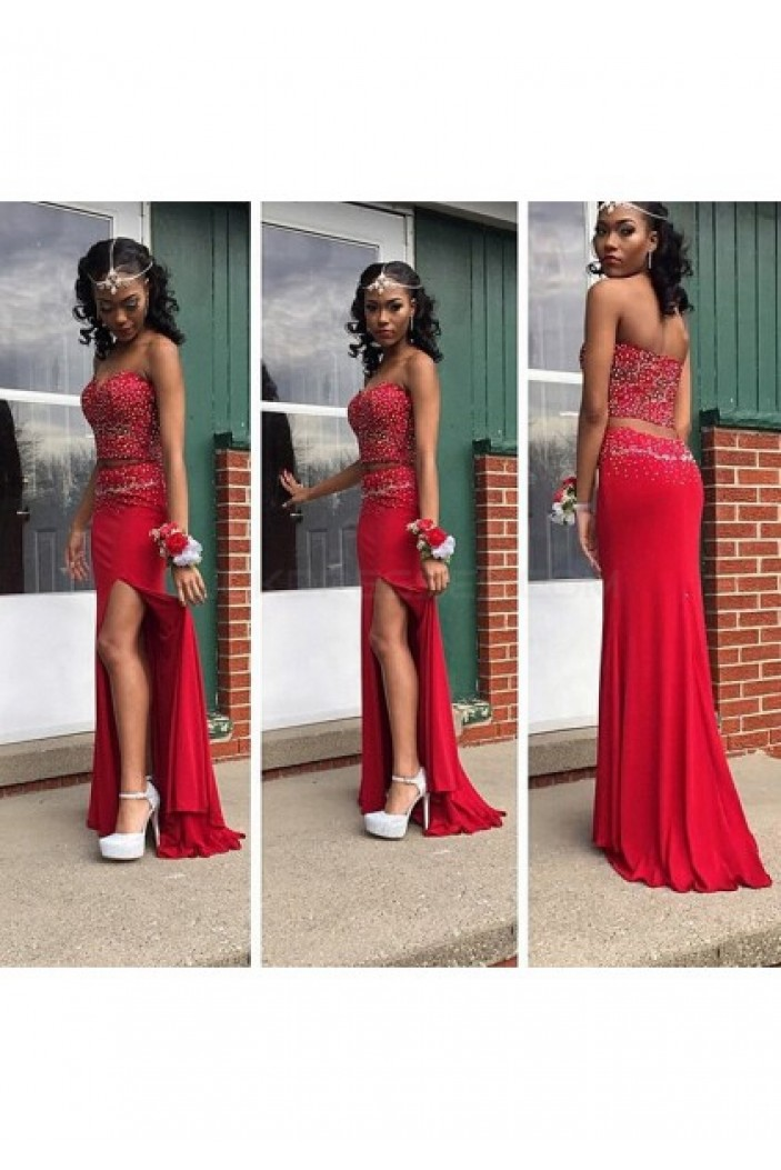 Beaded Two Pieces Long Red Chiffon Prom Formal Evening Party Dresses 3020969