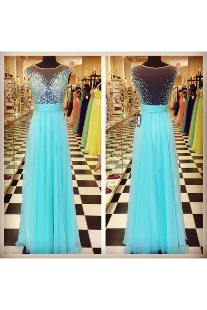 A-Line Beaded Long Blue Chiffon Prom Formal Evening Party Dresses 3020971
