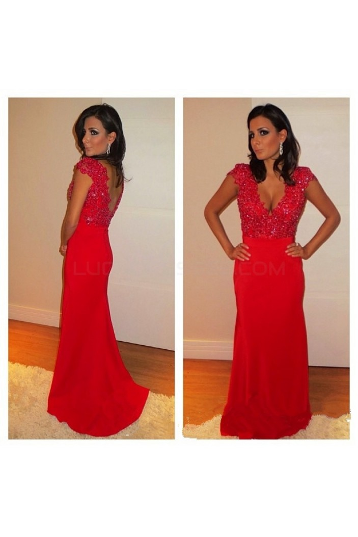 Long Red Mermaid Beaded Lace Prom Formal Evening Party Dresses 3020973