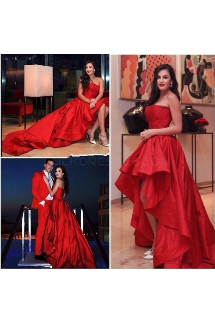 High Low Strapless Red Prom Formal Evening Party Dresses 3020974