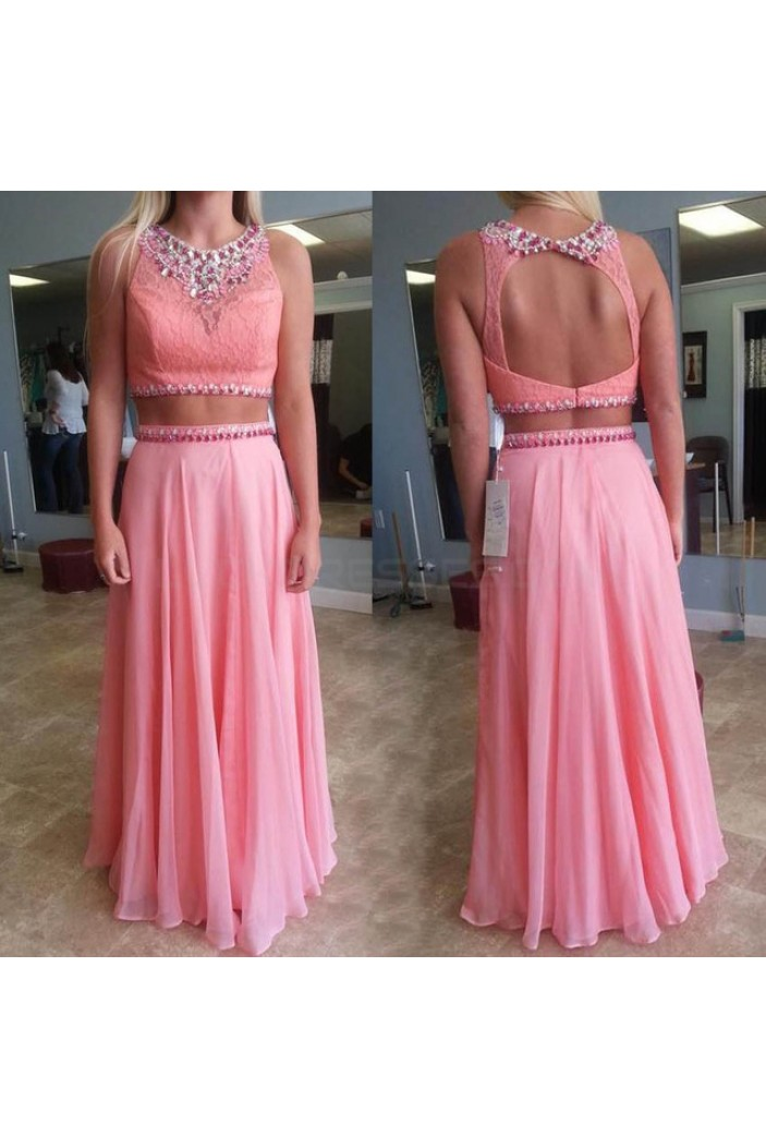 Two Pieces Beaded Lace and Chiffon Prom Formal Evening Party Dresses 3020975