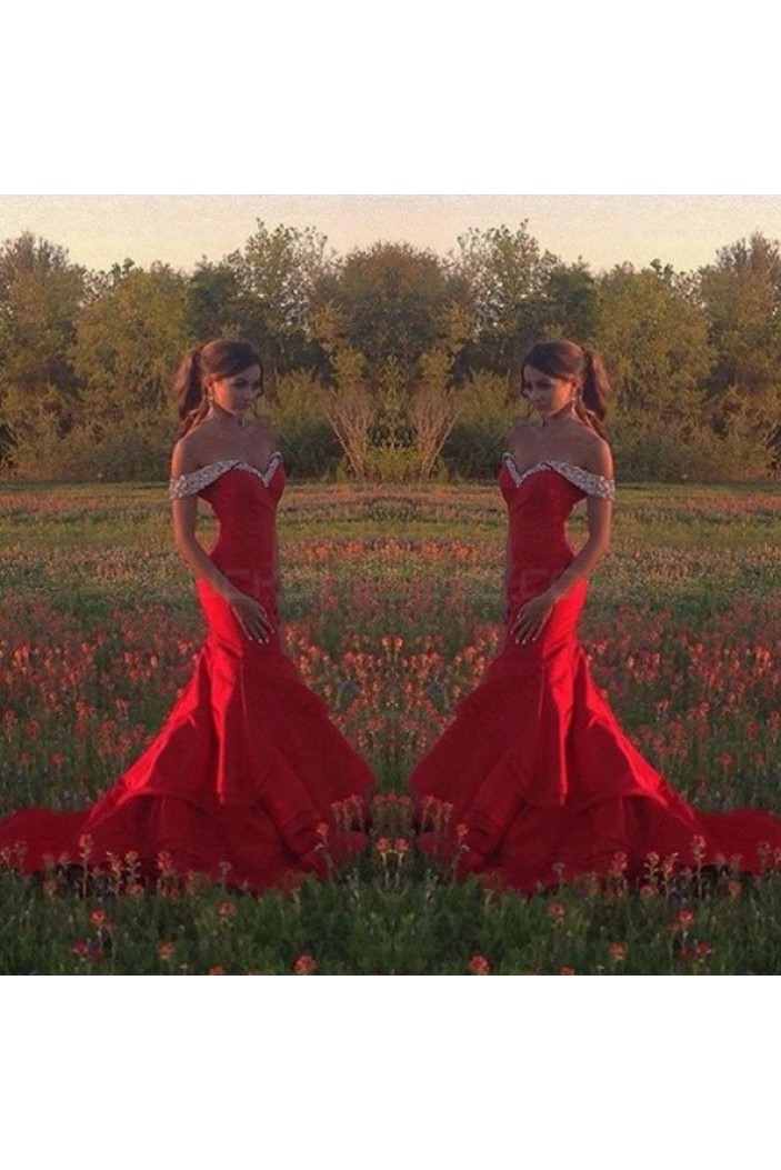 Mermaid Beaded Long Red Off-the-Shoulder Prom Formal Evening Party Dresses 3020982