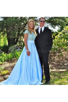 Beaded Long Blue Prom Formal Evening Party Dresses 3020984
