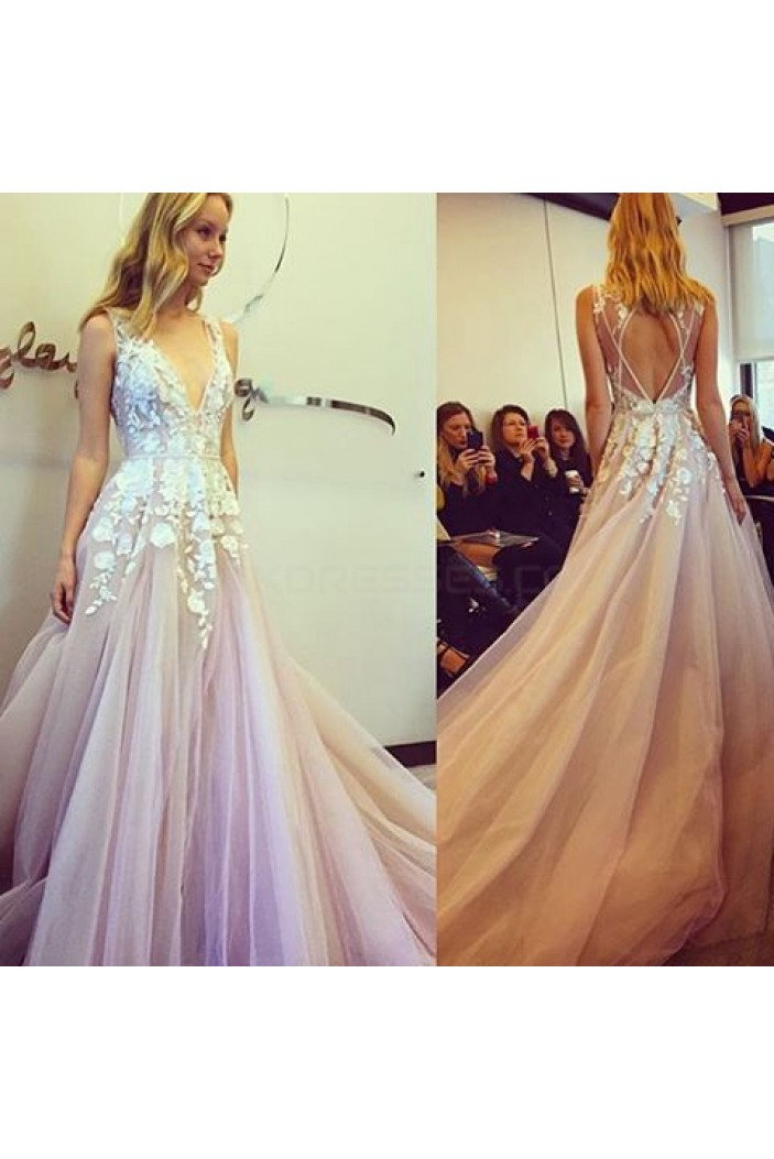 A-Line V-Neck Lace Long Prom Formal Evening Party Dresses 3020986
