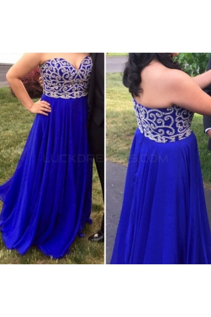 Long Chiffon Royal Blue Sweetheart Plus Size Prom Formal Evening Party Dresses 3020987