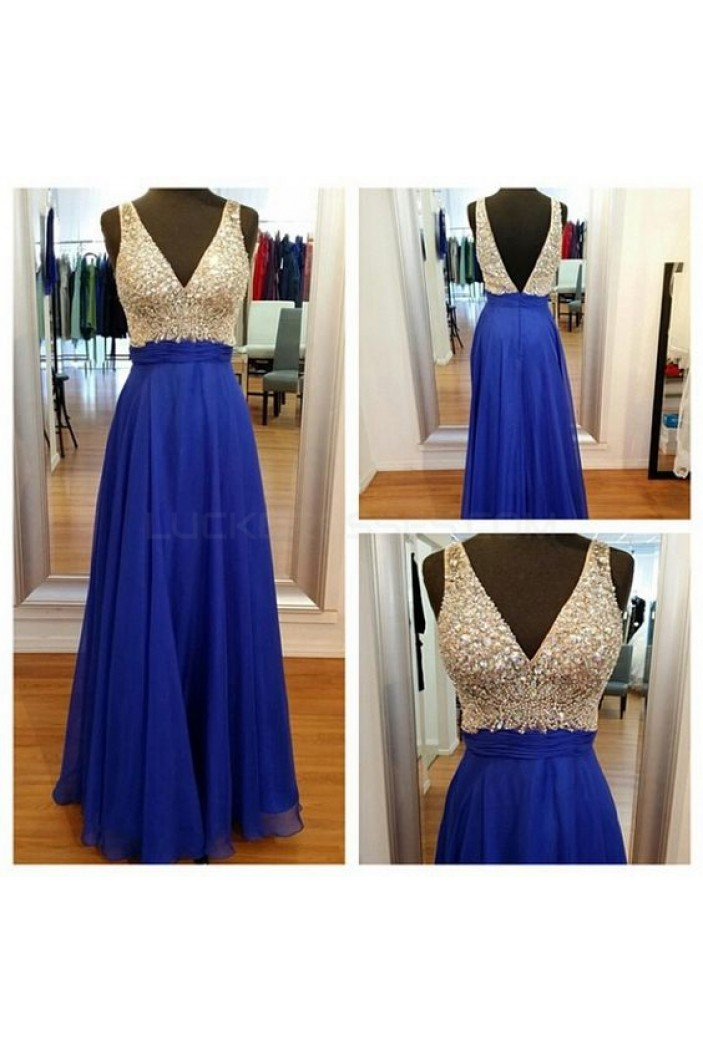 A-Line V-Neck Long Blue Beaded Prom Formal Evening Party Dresses 3020988