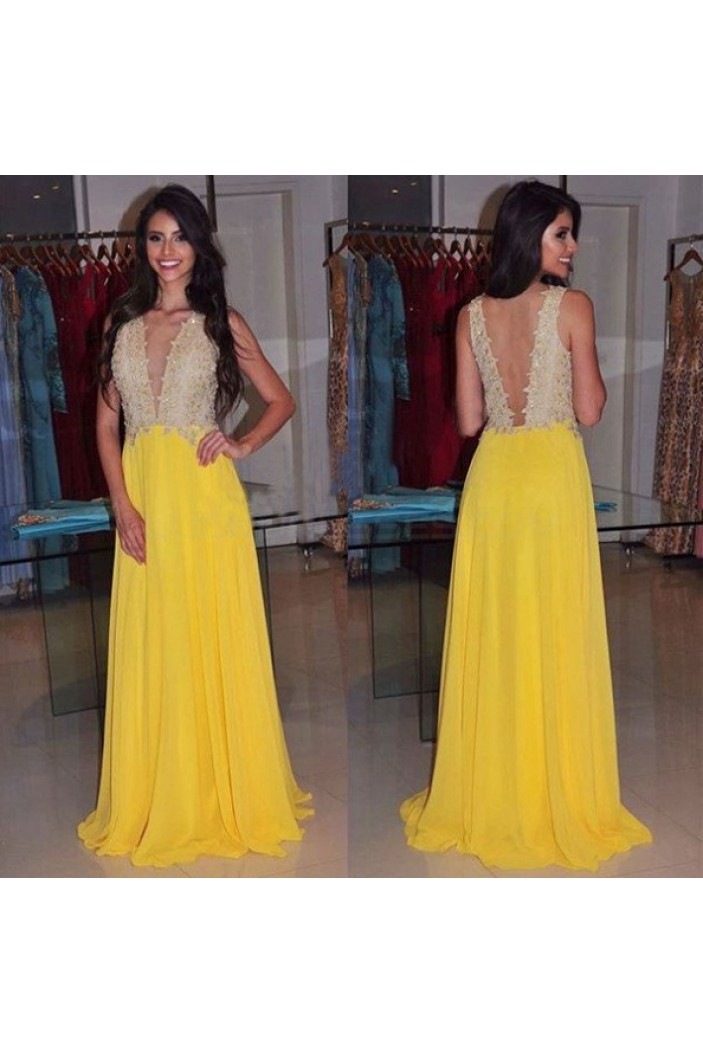 Long Yellow Chiffon Prom Formal Evening Party Dresses 3020995