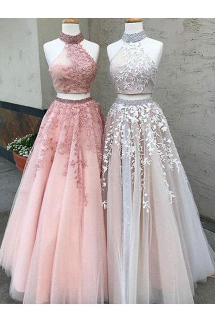 Latest Two Pieces Prom Dresses Beaded Lace Evening Gowns 601003