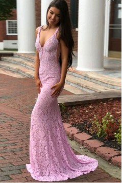 Inexpensive Mermaid Long Pink Lace Prom Dresses Evening Gowns 601004