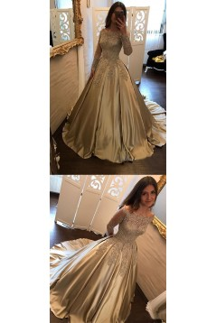 Elegant Long Sleeves Lace Prom Dresses Ball Gown Evening Gowns 601005