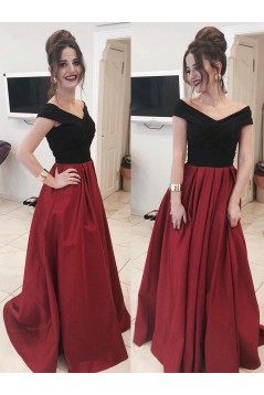 A-Line Long Prom Dresses Off-the-Shoulder Evening Gowns 601006