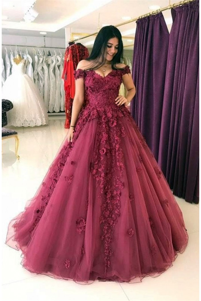 Affordable Ball Gown Lace Prom Dresses Off-the-Shoulder Evening Gowns 601009