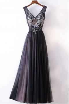 Elegant A-Line V-Neck Long Prom Dresses Evening Gowns 601010