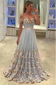 Affordable A-Line Off-the-Shoulder Long Prom Dresses Evening Gowns 601011
