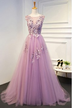 Elegant A-Line Tulle Long Prom Dresses Evening Gowns 601013