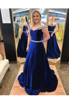 Amazing A-Line Beaded Long Prom Dresses Off-the-Shoulder Evening Gowns 601014