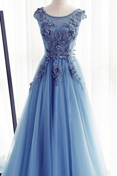 A-Line Long Blue Lace Prom Dresses Formal Evening Dresses 601015