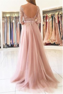 Elegant Lace Aappliques and Tulle 3/4 Length Sleeves Long Prom Dresses Formal Evening Dresses 601016