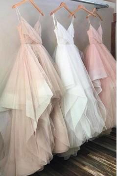 Elegant Spaghetti Straps Long Prom Dresses Formal Evening Dresses 601021