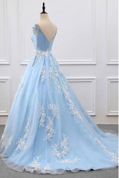 Ball Gown Lace Off-the-Shoulder Long Blue Prom Dresses Formal Evening Dresses 601023