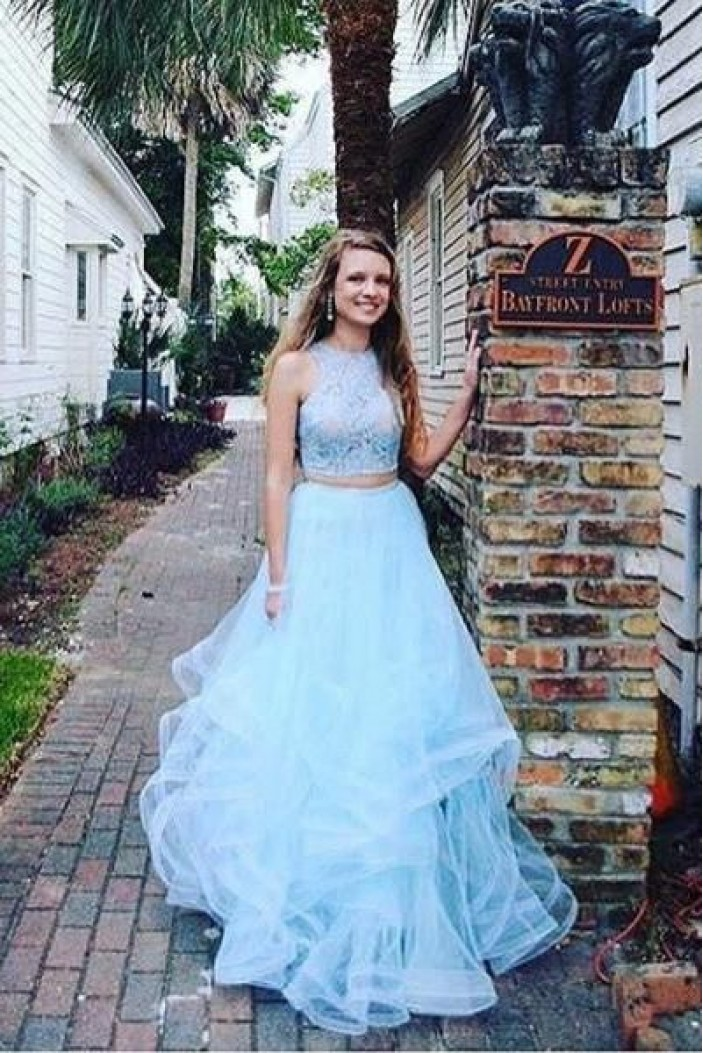 Elegant Two Pieces Light Blue Lace Tulle Long Prom Dresses Formal Evening Dresses 601024