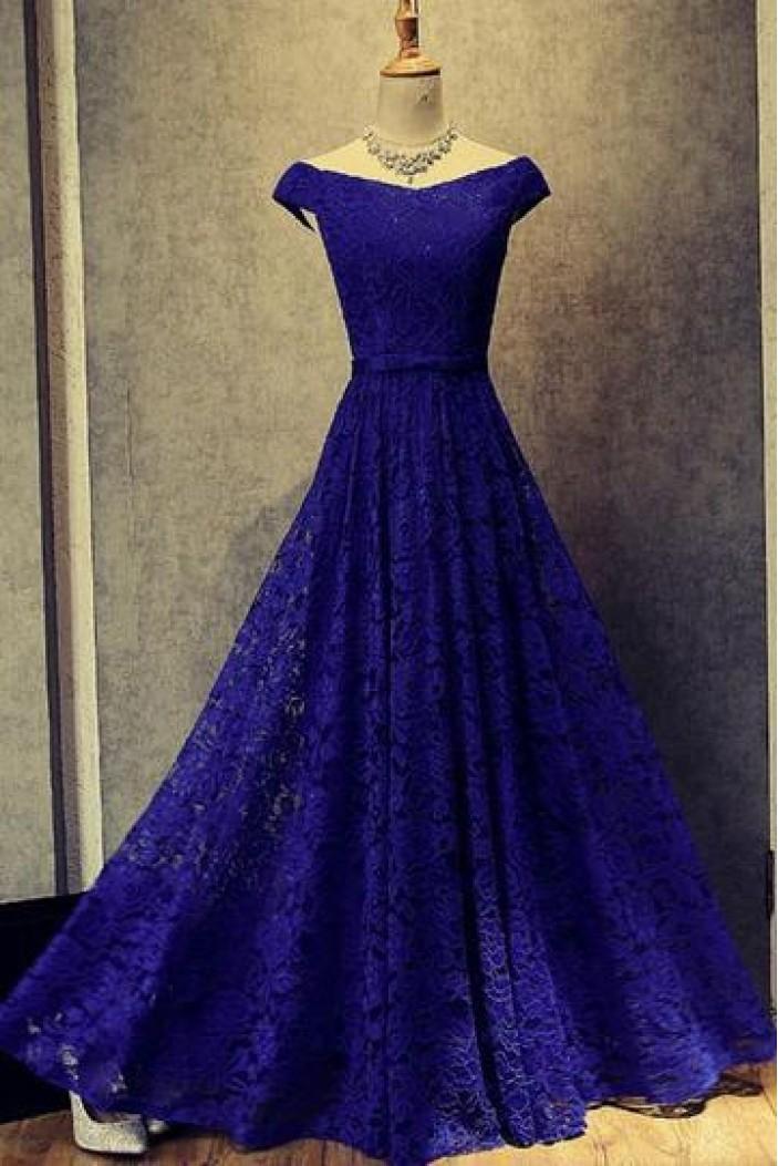 A-Line Lace Long Blue Prom Dresses Formal Evening Dresses 601026