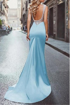 Long Blue Beaded Backless Mermaid Prom Dresses Formal Evening Dresses 601027