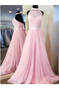 A-Line Halter Long Pink Lace Prom Dresses Formal Evening Dresses 601028