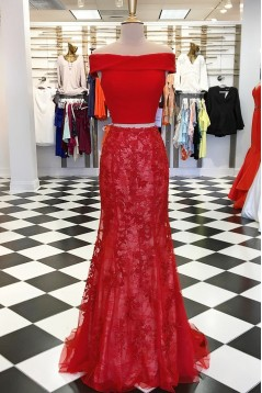 Mermaid Two Pieces Off-the-Shoulder Long Prom Dresses Formal Evening Dresses 601029
