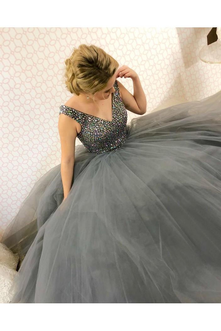 Ball Gown Beaded V-Neck Long Prom Dresses Formal Evening Dresses 601031