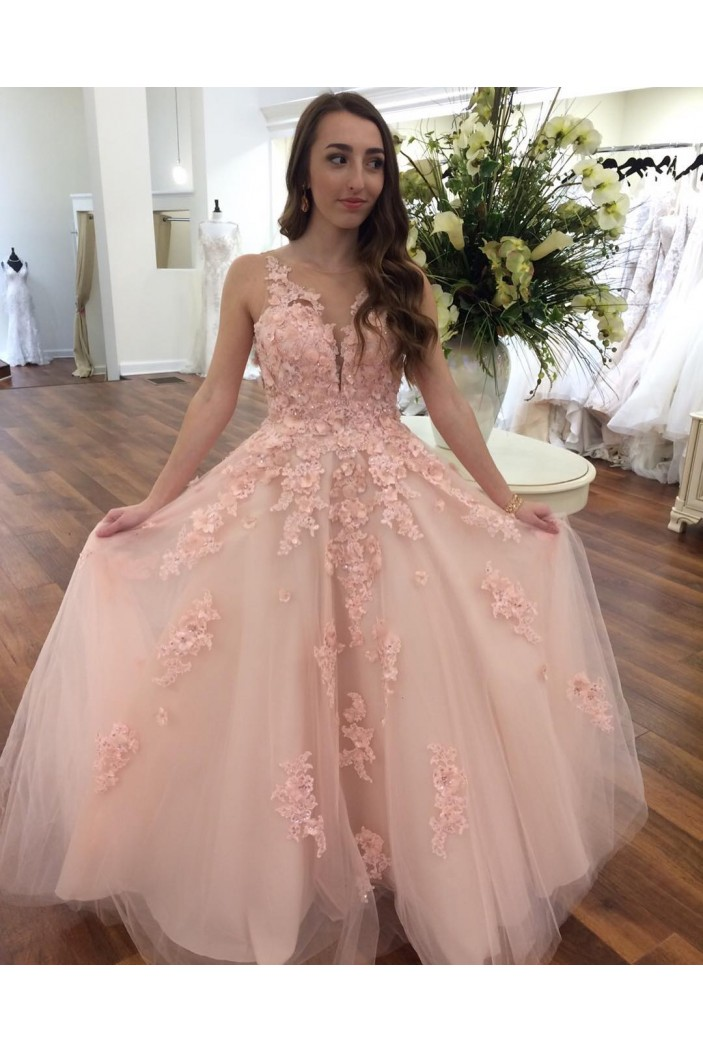 Long Pink Lace Tulle Prom Dresses Formal Evening Dresses 601032