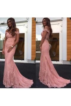 Mermaid Long Pink Lace Off-the-Shoulder Prom Dresses Formal Evening Dresses 601033