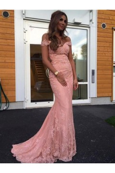 Mermaid Long Pink Lace Off-the-Shoulder Prom Dresses Formal Evening Dresses 601033
