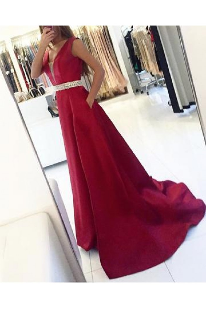 A-Line Beaded V-Neck Long Prom Dresses Formal Evening Dresses 601035