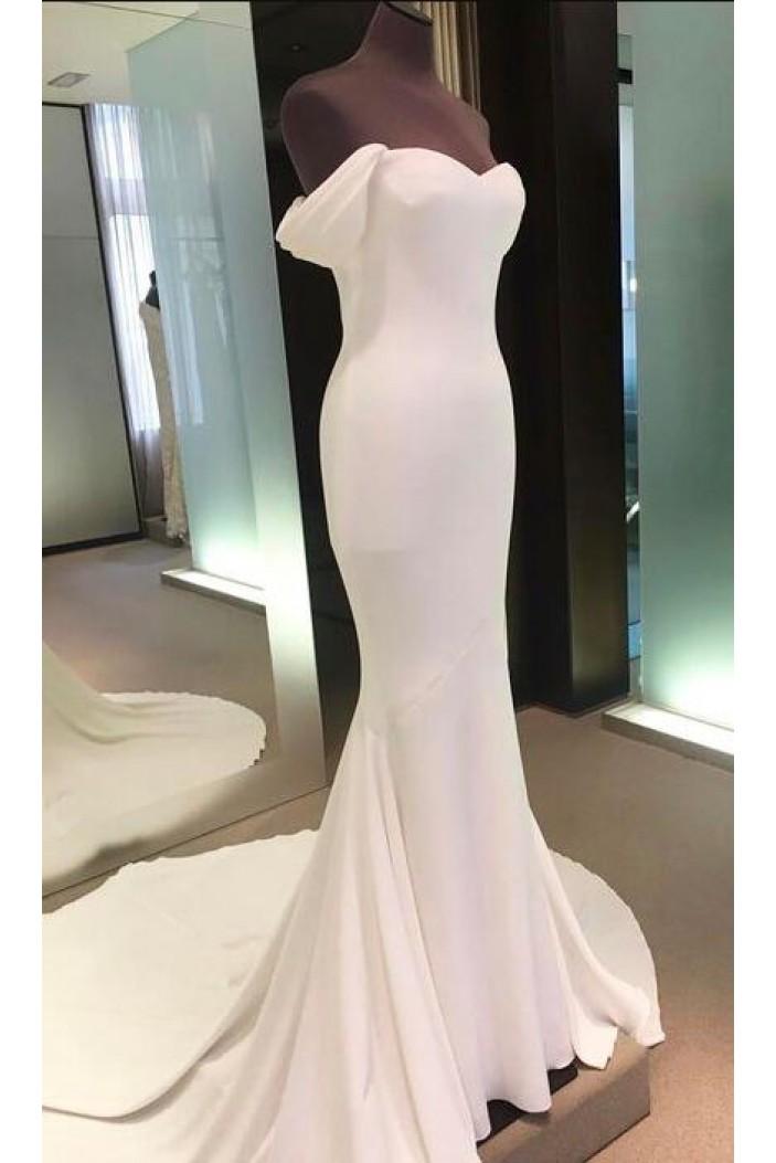 Mermaid Long White Prom Dresses Formal Evening Dresses 601036