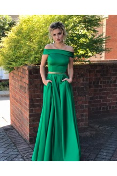 Two Pieces Long Green Beaded Prom Dresses Formal Evening Dresses 601037