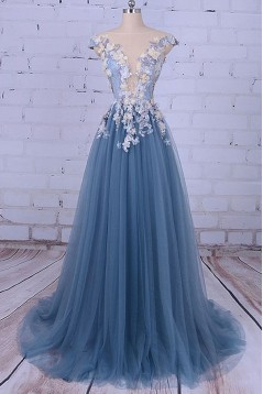 Long Lace and Tulle Prom Dresses Formal Evening Dresses with Flowers 601039