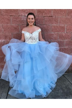 Blue and White Two Pieces Lace Tulle Long Prom Dresses Formal Evening Dresses 601040