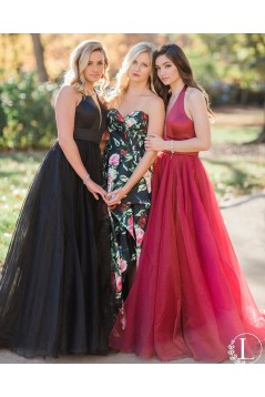 A-Line V-Neck Long Prom Dresses Formal Evening Dresses 601041