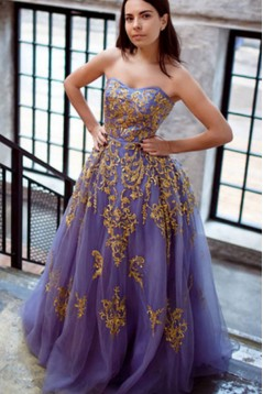 Ball Gown Tulle Gold Lace Appliques Long Prom Dresses Formal Evening Dresses 601044