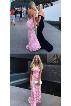 Long Pink Mermaid Lace Prom Dresses Formal Evening Dresses 601046