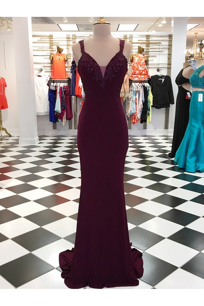 Mermaid Beaded Lace Appliques Long Prom Dresses Formal Evening Dresses 601047