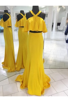 Mermaid Two Pieces Long Yellow Prom Dresses Formal Evening Dresses 601048