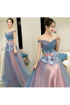 A-Line Off-the-Shoulder Tulle Long Prom Dresses Formal Evening Dresses 601050