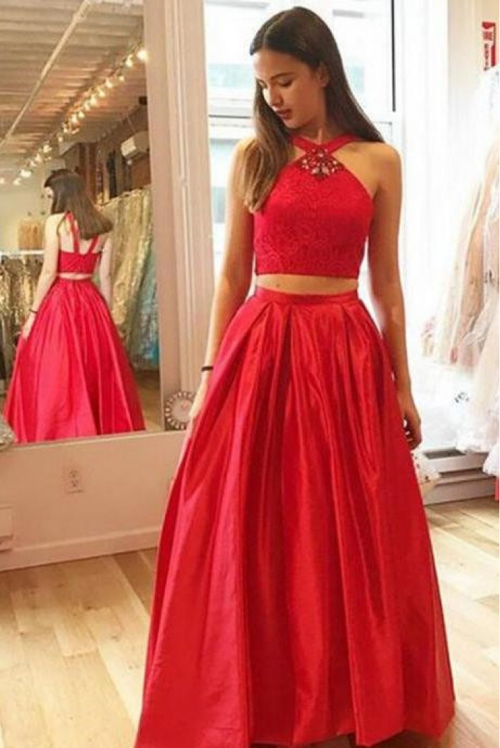 Long Red Two Pieces Prom Dresses Formal Evening Dresses 601053
